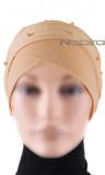 Turban Mütze gekreuzt Perlen CT30