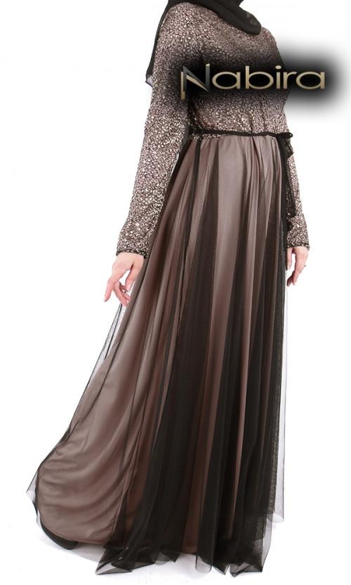Kleid aus Lycra mit goldener Spitze oben und schwarzem